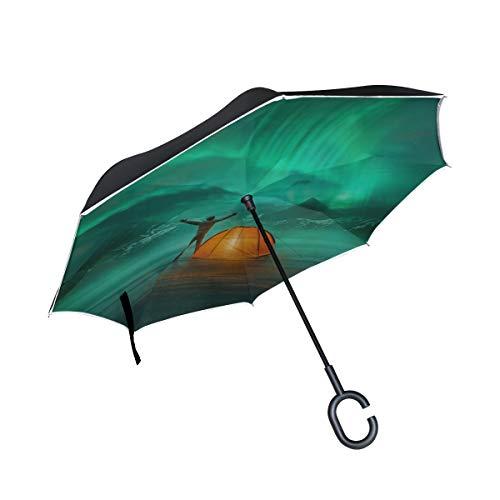 Doppelschicht-umgekehrter umgekehrter Regenschirm Automatisches Zelt leuchtet unter Sternenhimmel Nachthimmel Außenklappschirm Regenschirm Automatischer winddichter UV-Schutz für Regen mit C-förmigem