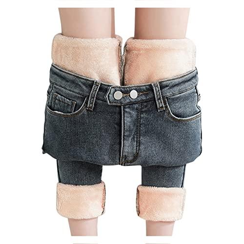 Pantalones vaqueros para mujer, de cintura alta, con forro trmico: forro polar, largos, de invierno, trmicos, ligeros, para deportes al aire libre