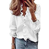 Andongnywell Casual Solid Color Ruffle Collar Long Sleeve Ruffle Shirt Blouse V Neck Short Sleeve Shirt Top (White,Small,,,)