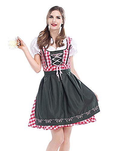 NUWIND Womens German Beer Festival Costume Bavarian Traditional Oktoberfest Halloween Party Maid Plaid Fancy Dress Outfit (M) Pink-White