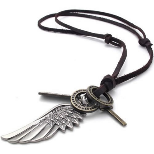 Konov Jewellery Unisex Mens Vintage Style Angel Wing Cross Pendant Genuine Leather Necklace Chain, Colour Brown Silver (with Gift Bag)