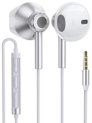 Linklike Quad Dynamic Drivers Hi-Res Extra Bass Earbuds Headphones Noise Isolating Wired Earbuds with Microphone, Lightweight Earphones with Volume Control 3.5mm Jack In-Ear Headphones (Silver/White)
