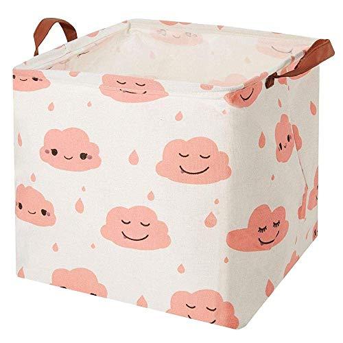 AYCPG Cesto de lavandería, cuadrado de lona para juguetes, cesta de almacenamiento con asa, plegable, organizador de juguetes para guardería, juguete de niños, cesta de lavandería, color rosa