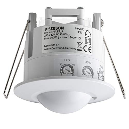 SEBSON® Detector de Movimiento para Interiores, Montaje Empotrado en Techo, LED Adecuado, programable, HF Sensor, Alcance 2-16m / 360°, Luces 1200W / 300W