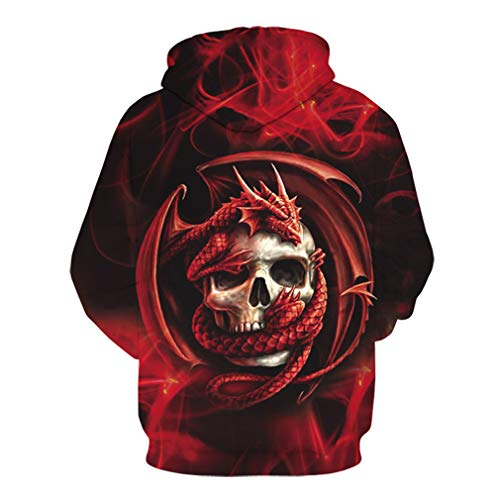 Men's Hoodies 3D Digital Prints Halloween Skull Hooded Sweater Winter Warm Gothic Ghost Printed Drawstring Pullover Fashionable Loose Bone Printed Sweater Plus Size