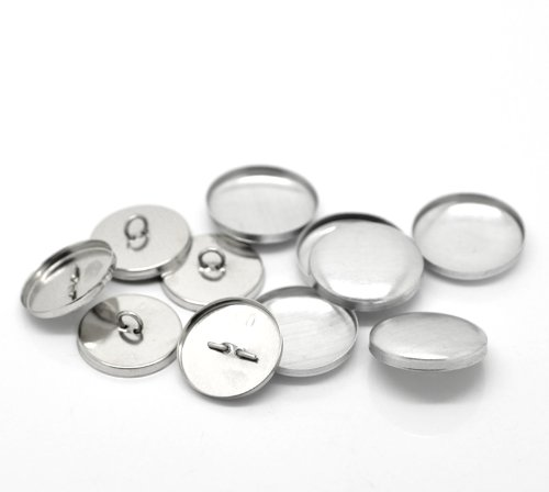 SiAura Material ® - 10 Sets Aluminium Knöpfe zum Überziehen, aluminiumfarben, Ø ca. 24mm, Rückwand 22mm