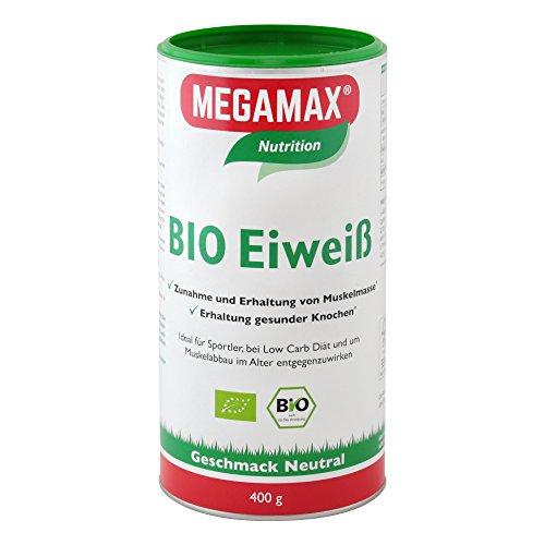 MEGAMAX BIO Eiweiß Pulver Neutral. Ideal für Sportler und Ernährungsbewusste. Angenehmer neutraler Geschmack. Inhalt: 400g. Produktion in Deutschland.