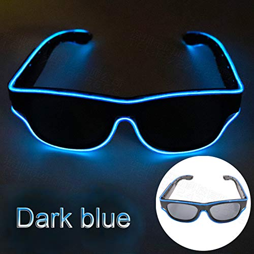 Glaray Kabellos LED Leuchtend Brille USB Wiederaufladbar LED Light Up Brillen Rave Party Leuchtende Sonnenbrille (Dunkelblau)