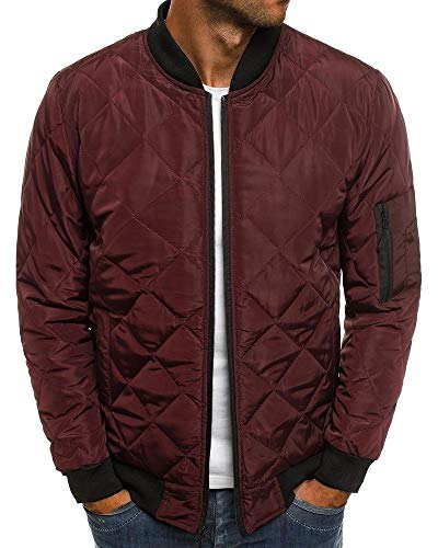 Pengfei Mens Jackets Bomber Varsity Diamond Quilted Spring Coats Outwear (XX-Large, Wine Red)