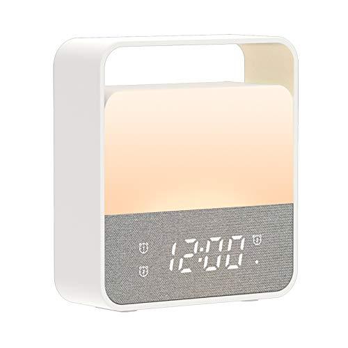 MELCAM Nachtlicht Kinder[Weicher Augenschutz 3000K]Nachtlampe Baby USB Wiederaufladbare Nachttischlampe LED Nachtlicht kinderzimmer Schlafzimmer 12 Farbwechsel Dimmbaresmit Multifunktion Uhr Wecker