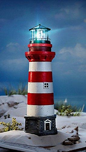 XXL LED Leuchtturm Garten Außenbeleuchtung maritime Garten Deko 55cm Lampenhaus rot weiß bis zu 6 Stunden rotierendesLeuchtfeuer Timer funktion
