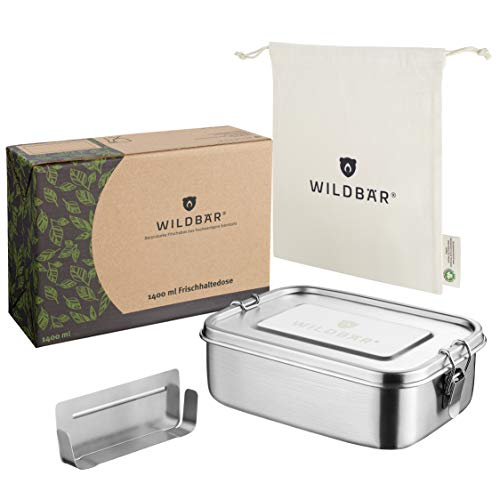 WILDBÄR® - NEU - Dichte Premium Edelstahl Brotdose als innovatives Set. BPA- und plastikfreie Lunchbox mit Flexibler Abtrennung und Naturbaumwollbeutel. Nachhaltig, ideal auch für Kinder - 1400ml