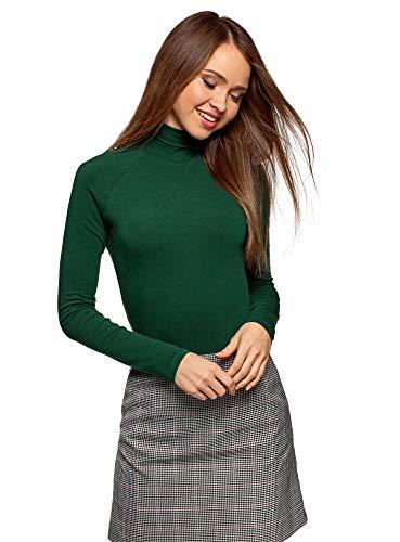 oodji Ultra Mujer Suéter Básico de Cuello Alto de Algodón, Verde, ES 40 / M