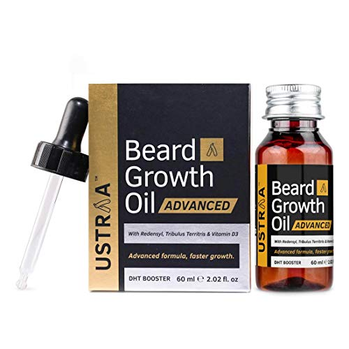 USTRAA Beard Growth Oil Advanced - 60ml - Beard Growth Oil for Patchy Beard, With Redensyl and DHT Booster, Nourishment &...