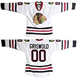 Custom Clark Griswold Men Jersey #00 X-Mas Christmas Vacation Movie Ice Hockey Jersey (White, 5XL)
