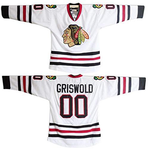 Custom Clark Griswold Men Jersey #00 X-Mas Christmas Vacation Movie Ice Hockey Jersey (White, 5XL)