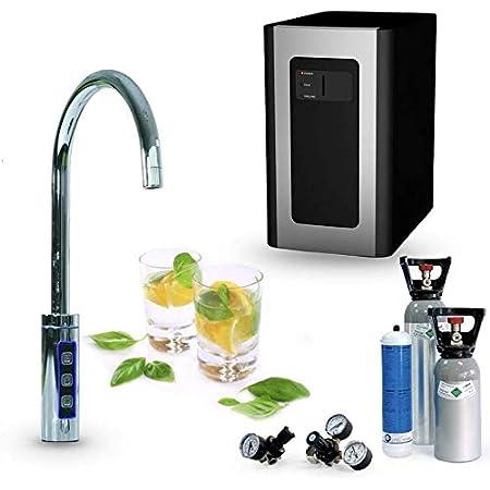 Sprudelux® Blue Diamond – Système d'eau potable Pour une installation sous le plan de travail – Avec robinet supplémentaire 3voies + bouteille de 6kg remplie de CO2 – Appareil professionnel à usage domestique pour gazéifier l'eau – Eau minérale pétillante