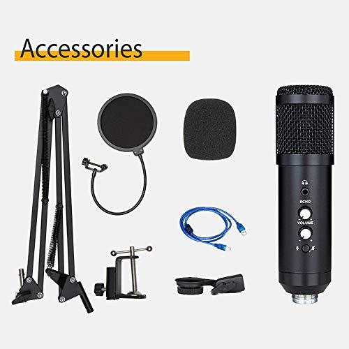 DAETNG Kit de micrófono de Condensador USB, Brazo de Tijera con suspensión de micrófono Ajustable, Cable y Kit de Abrazadera de Montaje en Mesa para grabación de Sonido para Windows y Mac