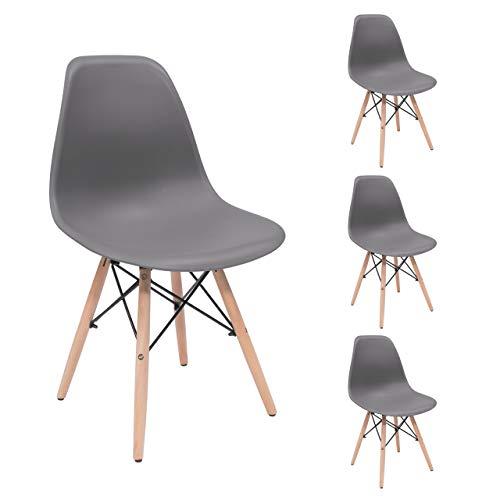 Homely - Juego de 4 sillas de Comedor MAX Tower inspiración Silla Tower - Gris Oscuro