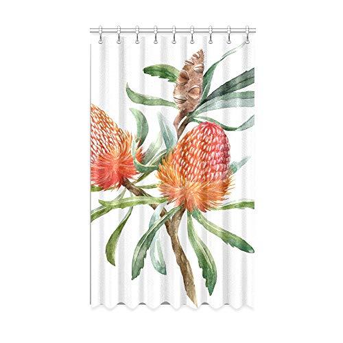 N\A Vintage Verdunkelungsvorhänge Australische Orange Blumen Banksias Küchenfenstervorhänge 50 x 84 Zoll Einteiler für Patio Glasschiebetür/Schlafzimmer