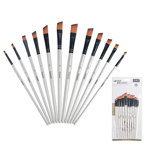 Snoya Acrylic Paint Brushes Set 12 Pcs Nylon Hair Professional Paint Brushes Artist for Kids and Adults to Create Art Acrylic Oil Watercolor, Body Face Painting Kits