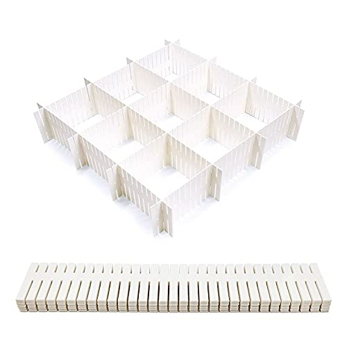 Divisores de cajones de Rejilla,12 Piezas Plástico Ajustables Separadores Cajones,DIY Contenedor Organizador para Calcetines Ropa Interior (Blanco)