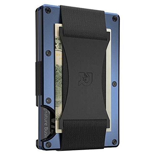 Cartera Tarjetero Minimalista con Protección RFID Incorporada, Bloqueo Garantizado Clonación Chips Digitales, Diseño Práctico, Correa Sujeción Billetes Integrada (Color Navy)