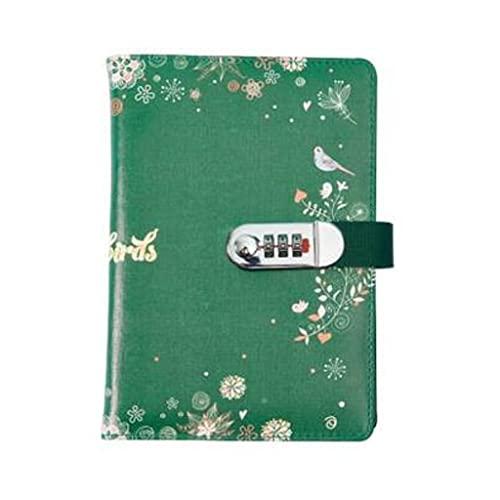 ZAZA Cuaderno Diario Cuaderno Retro con Llave De Bloqueo Diario Contraseña Notebook Boys and Girls Adecuado para Un Bloc De Notas Simple Y Elegante Cuadernos para Mujeres (Color : Green)