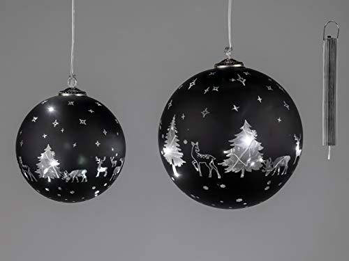 Formano LED-Kugel mit Winterwald-schwarz, Timer Funktion, ca. 15 cm