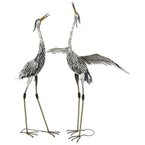 chemin_de_campagne Statue Sculpture Héron Oiseau Couple de Hérons en Fer Oiseaux de Jardin 120 cm