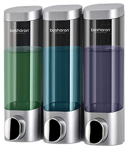 Bosharon Wall Mounted Manual Soap Dispenser for Home, Bath, Kitchen, Hotels, Restaurants. Shower and Lotion Dispenser (Grey)