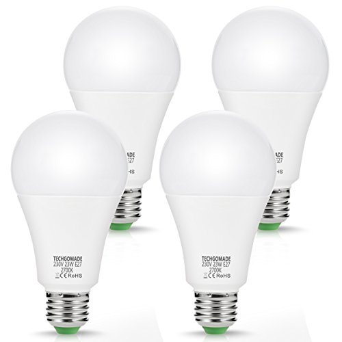 4 X 23W A65 E27 LED Lampen, Techgomade Ersatz für 200W Glühlampen, 2500LM, Beautiful Warmweiß 2700K, 240°Abstrahlwinkel, Energie sparen LED-Glühbirne, Nicht Dimmbar, für Garage, Wohnzimmer, Hotel