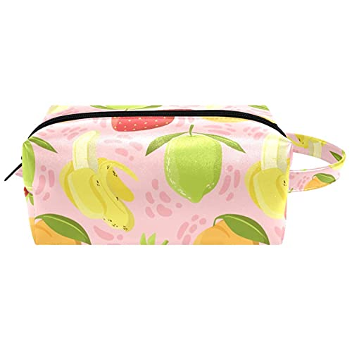 Cool Pug Dog con auriculares gafas vaquero impermeable bolsa cosmética para mujeres niñas, bolsa de viaje de cuero con asa y cremallera, estuche de maquillaje cuadrado portátil