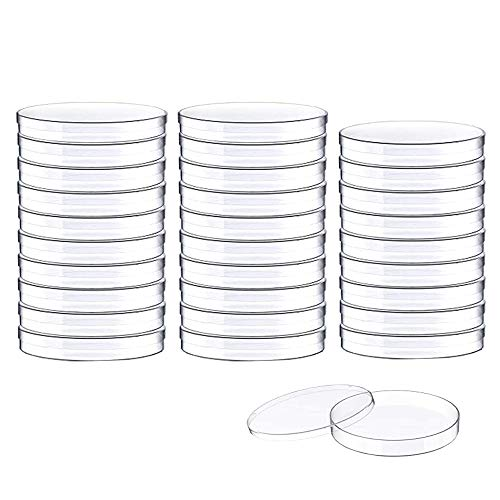 30 PCS 90 x 15 mm Sterile Plastic Petri Dishes with Lid,Bioresearch Sterile Petri Dish,Culture Dishes with Lids,Perfect Kit for Medical,Biological,and School Science Fair Projects Birthday Parties
