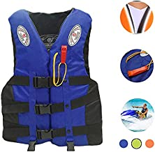 Bosji Life Vest for Adult, Adjustable Camouflage Kayak PFD Life Jackets, Plus Size Jet Ski Stearns Swimming Equipment Life Jacket for Buoyancy Fishing Boating Watersport Men Women (Blue, XL)