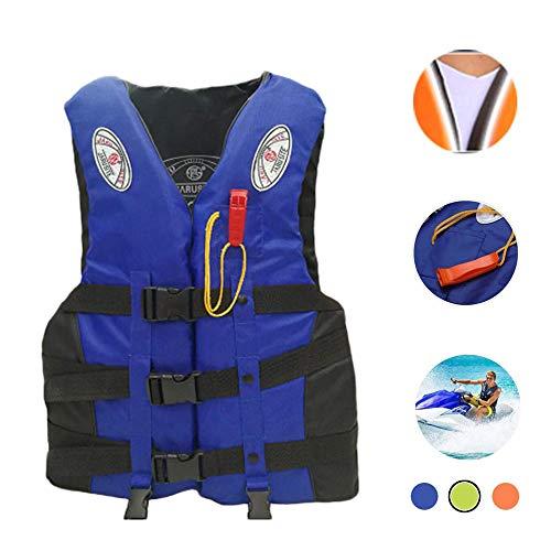 Bosji Life Vest for Adult, Adjustable Camouflage Kayak PFD Life Jackets, Plus Size Jet Ski Stearns Swimming Equipment Life Jacket for Buoyancy Fishing Boating Watersport Men Women (Blue, XL)