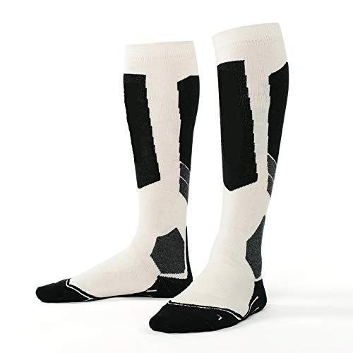 WMC Snowboardsocken, Merinowolle, warme Socken für draußen, verdickt, Frottee, warme Sport-Kniestrümpfe L Schwarz