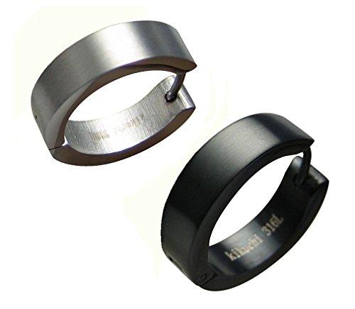 Kikuchi Männer Herren Klassische Ohrringe Titan- Edelstahl Creolen Ohrstecker Flinserl Schwarz Silber Matt 18mmØ ERTS006