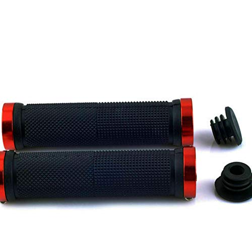 Mountain Bike Bicycle Handle Bar Grips Double Lock On Locking,Non-Slip Rubber Bicycle Handle Grip with Aluminum Lock Ergonomic Red