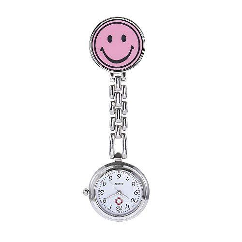 B/H Pulsuhr Krankenschwester,Krankenschwesteruhr aus runder Legierung, elektronische Quarztaschenuhr aus Smiley-Pink,Damen Taschenuhr Krankenschwester