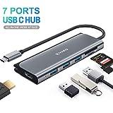 USB C Adapter 4K HDMI Hub 7 Ports mit 3x USB 3.0 Ports, SD / TF Kartenleser, 4K@30Hz HDMI für MacBook Pro / Air, Chromebook & weitere Typ C Geräte, VAKO