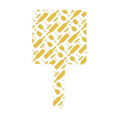 Espejo de mano con diseño de botella de vino y sacacorchos de color amarillo para maquillaje facial, salón de peluquería, espejo de mano