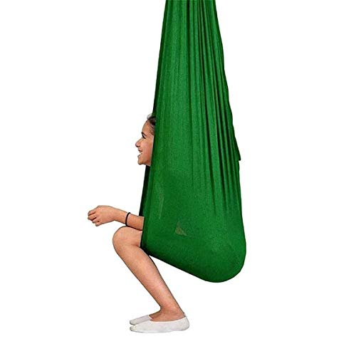 BGSFF Yoga Swing Hammock Indoor Therapy Swing For Kids With Special Needs uggle Cuddle Hammock For Autism, ADHD Sensory Integration (Color : Green, Size : 100×280CM/39×110in)