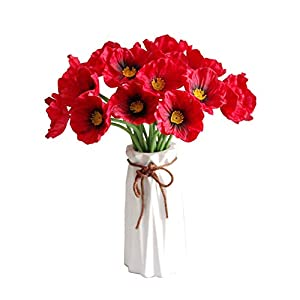 UNIE 20Pcs Artificial Poppy Flowers, Silk Real Touch PU Flowers with Stems, Decorative Fake Red Poppies for Wedding Bridal Bouquet Home Party Decor