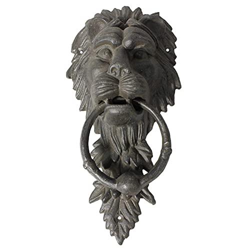 Decorazione da parete Deluxe Renovator's Supply Battenti classici a testa di leone Battenti per porta d'epoca per porta d'ingresso principale con anello per denti da predatore Maniglia per cancello re