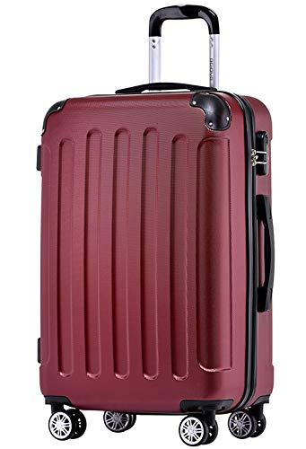 BEIBYE Hartschalen-Koffer Trolley Rollkoffer Reisekoffer Handgepäck 4 Rollen (M-L-XL-Set) (Weinrot, L)