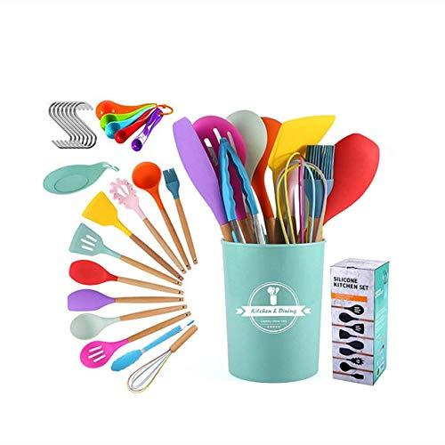 Larew Juego de utensilios de cocina de silicona, antiadherentes y resistentes al calor, con espátulas, batidores, pinzas, brochas, cuchara con un cubo de almacenamiento, colorido juego de 15 piezas