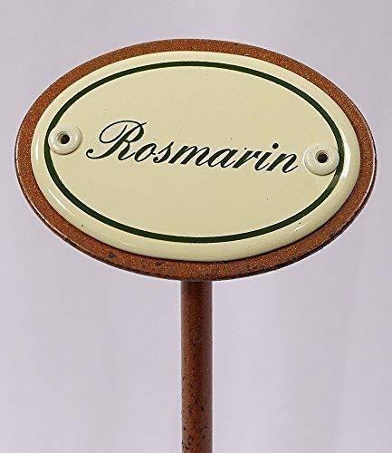 linoows Kräuterschild Kräuterstecker Emaille, Rosmarin, Erdspieß 25 cm