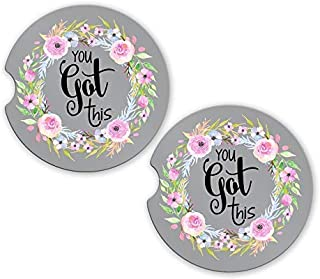 Floral Car Coasters | You Got This SET of 2 | 2.56