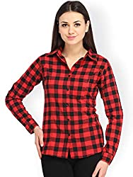 DAMEN MODE Womens Cotton Check Shirt